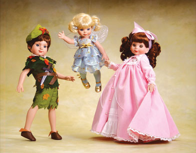 """For 2002, """"Betsy and Sandy McCall"""" will perform in the school play as Wendy and Peter Pan. Linda McCall joins in to complete the trio.  The dolls are limited to 500 each and sold separately. Sandy and Betsy cost about $80; Linda as Tinkerbell is $60."""