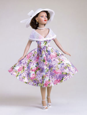 """""""Garden Party"""" is one of Robert Tonner's favorite ensembles for Tiny Kitty. Inspired by a dress worn by Tonner's mother in the 1950s, """"Garden Party"""" retails for  $35."""