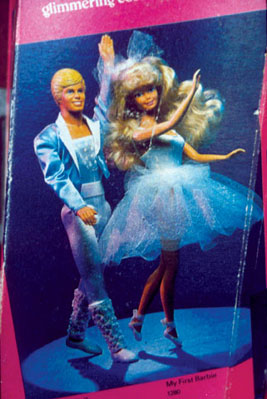 "Ken showed up in the ""My First"" line in 1988. Here he is dancing with the Barbie of the same year on the back of her box."