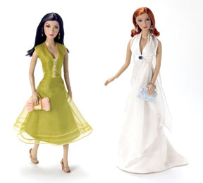 "Designs for Living: The Alexander costumers have given the ""Susan Mayer"" doll a lovely 	chartreuse dress that falls just below the knees, along with coordinating shoes, handbag and earrings. It resembles an actual ensemble the character wore during an episode. Standing beside the Susan doll is the ""Bree Van De Kamp"" doll. The Alexander artists have captured actress Marcia Cross' glamour and always-poised façade. The Bree doll wears a flowing white goddess-style gown. Her shoes are silver and her clutch bag is brocaded."