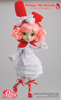 """My Melody"" is cute with curly, pink hair. Made in collaboration with Sanrio, she is priced at $138. Jun Planning's Pullips are fully articulated 12-inch fashion dolls with eyes that close and move from side to side. Each doll comes with an outfit and accessories, trading card and doll stand."