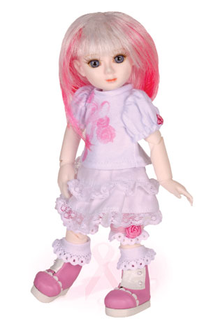 """The 'Adeline Joy' doll and the ""Nurse Eloise"" doll are both charity dolls,"" Goodreau explains. ""They sell directly through us, and 100 percent of the profits go to medical research. The breast cancer awareness doll is named Adeline Joy after a lovely pattern maker who just survived breast cancer. That was my inspiration."""