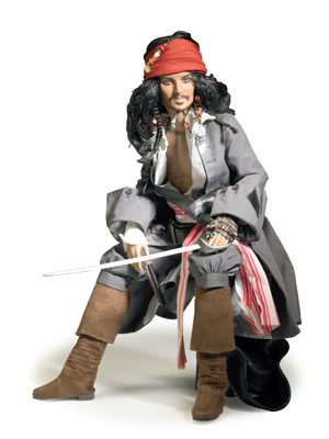 "The heart of any ""Pirates"" collection is ""Captain Jack Sparrow,"" brought to life by actor Johnny Depp. The poseable figure in the character's classic fighting outfit includes pistol, sword and display stand for $179.99."