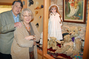 George and Barbara Sutton with some of the toys they are keeping for sentimental reasons: Henrietta and Wellington (back) with fellow Steiff bears Ashby and Farnell.