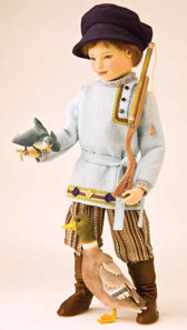 """Peter Hunts the Wolf"" is one of Maggie Iacono's new workds for 2012. The 16 ½-inch doll and his hunting companions are part of a limited edition of 25."