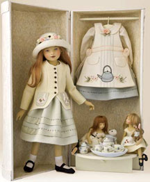 """Polly's Tea Party"" was a limited edition of 30 from 2009 and included the 16 ½-inch ""Polly"" and her two 7-inch dolls."
