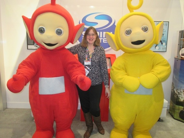 Stephanie Finnegan with two of the Teletubbies