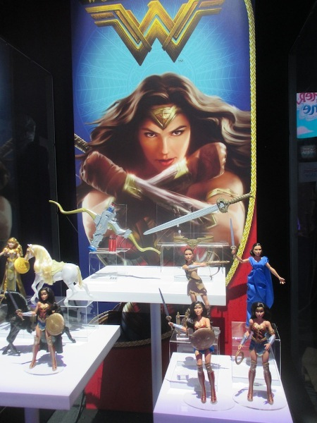 A variety of Wonder Woman dolls, displayed at Mattel's showroom.