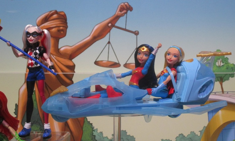 "Wonder Woman takes to the sky, in her ""invisible"" plane from Mattel."