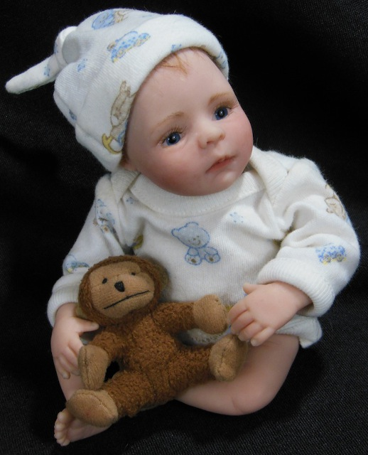 8-inch baby with monkey toy