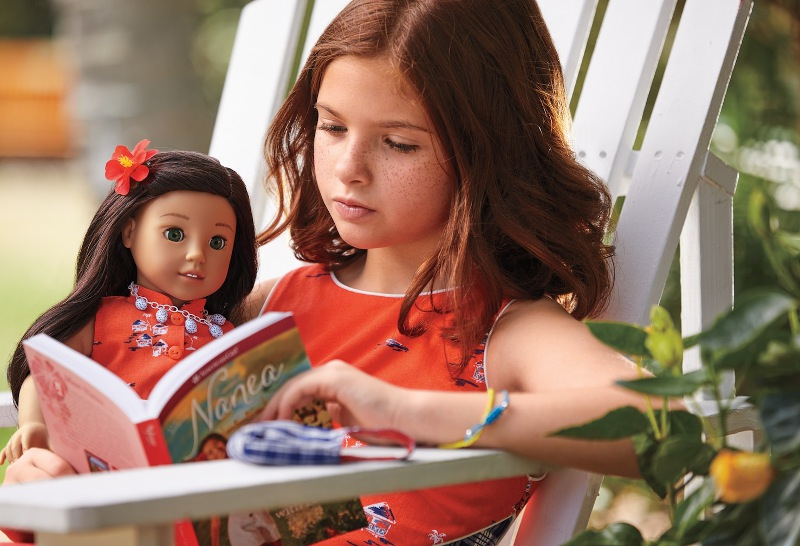 Girl Reading with Nanea American Girl Doll