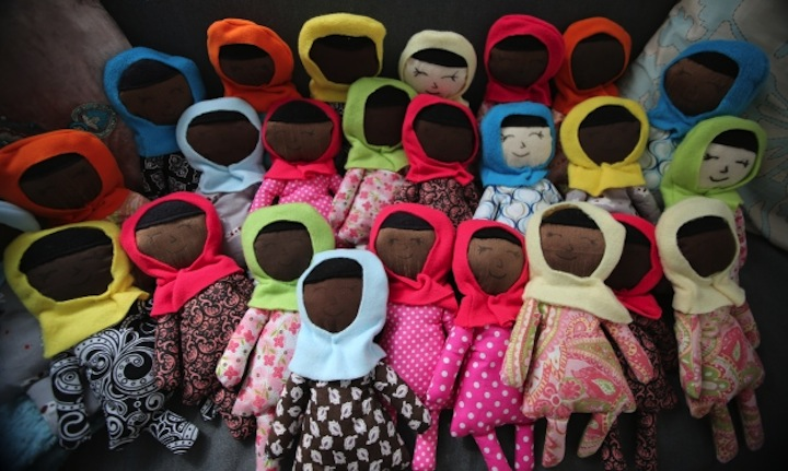 Hijab-wearing dolls were left as a mystery offering.
