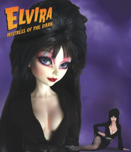 The Elvira doll and the real-life Elvira, Mistress of the Dark