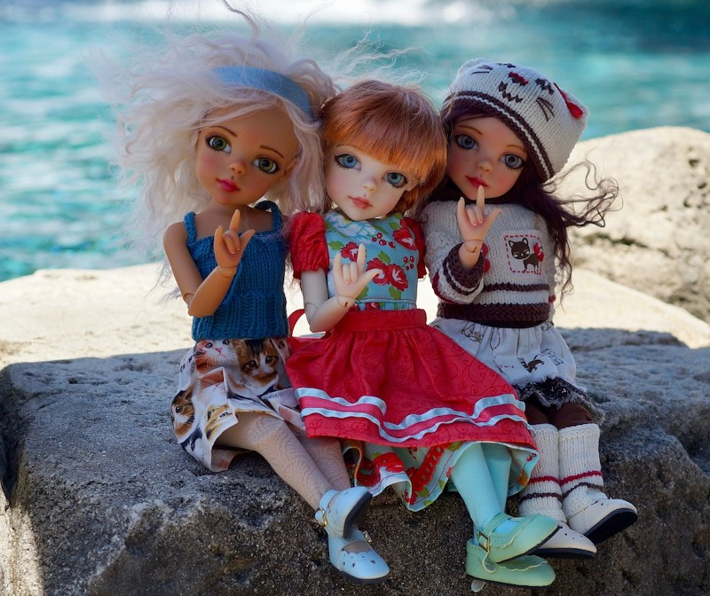 "Bo Bergemann's dolls say ""I love you"" in American Sign Language."