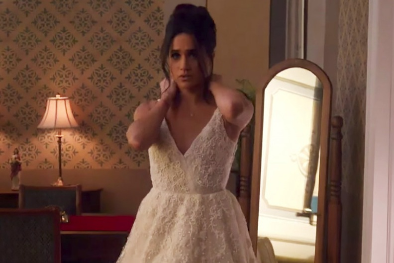 "Meghan Markle clad in her wedding-gown costume in ""Suits,"" Courtesy of USATV"