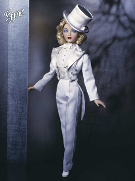 Gene doll as Film Fatale, a salute to Dietrich's cross-dressing parts