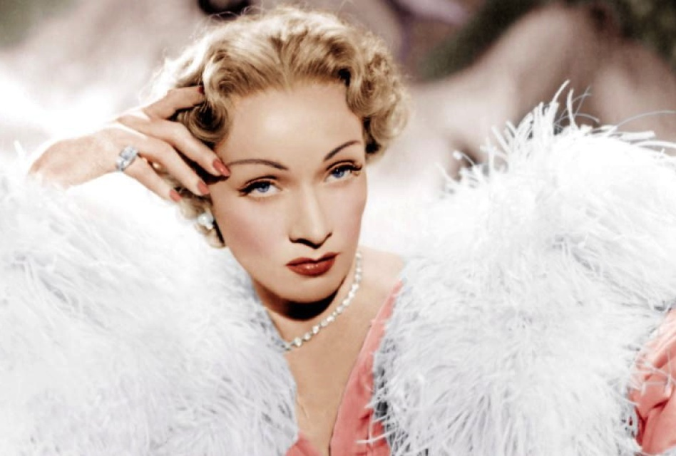 "Marlene Dietrich, channeling her Dior Diva, in 1950's ""Stage Fright"""