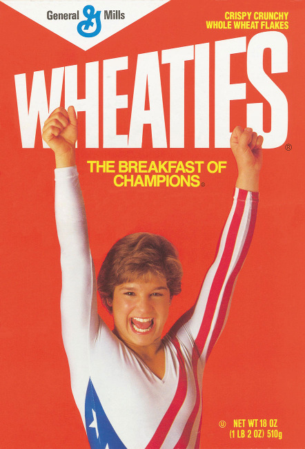 Mary Lou Retton on the iconic Wheaties cereal box in 1984