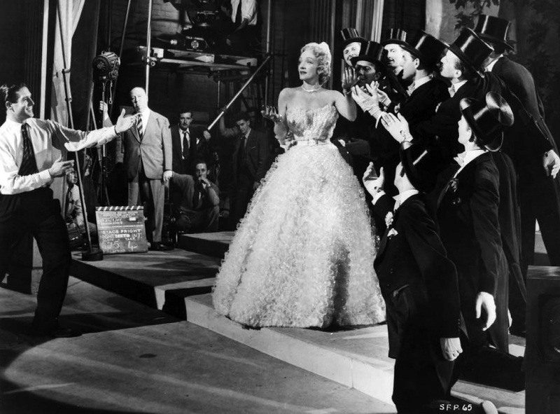 Hitchcock watching Dietrich in one of the lavish production numbers