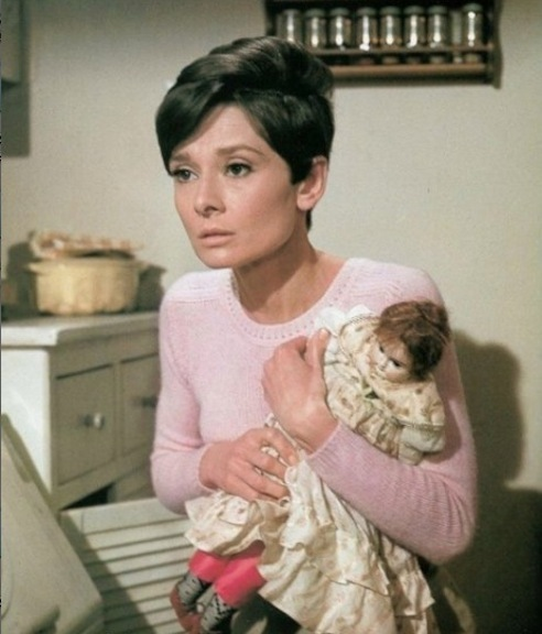"Audrey Hepburn and doll in ""Wait Until Dark"""