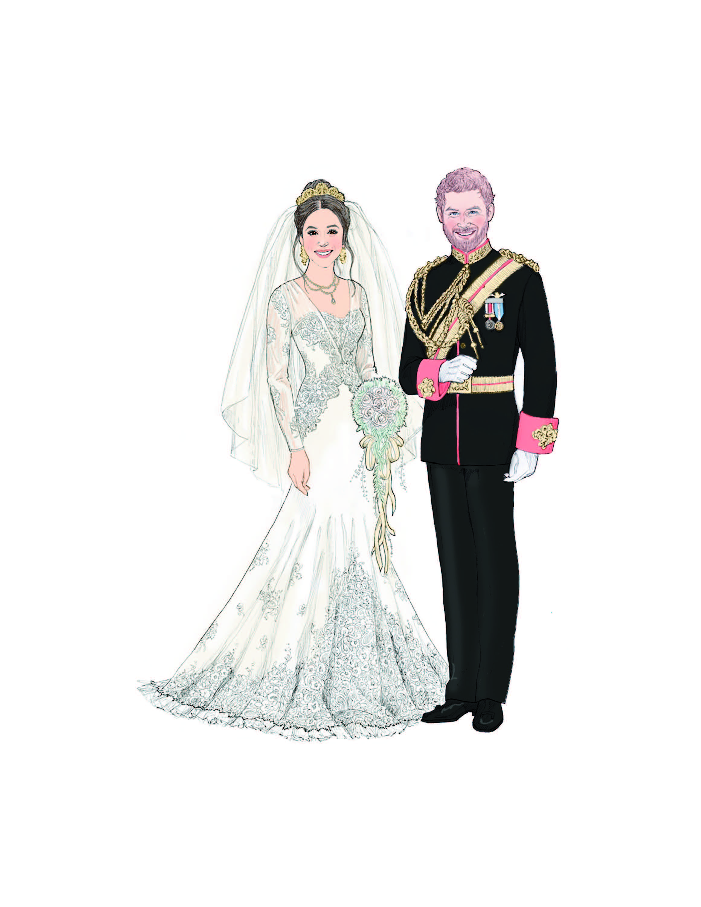 Meghan and Harry illustration by Ashton-Drake