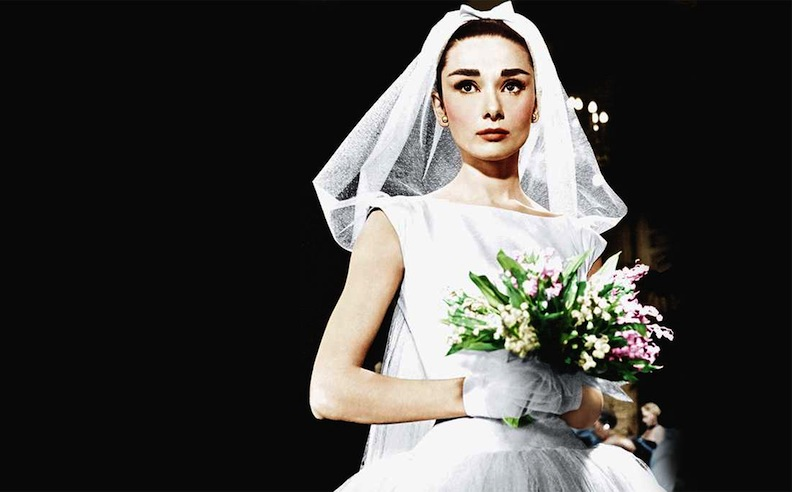 "Audrey Hepburn ""Funny Face"" Givenchy wedding gown"