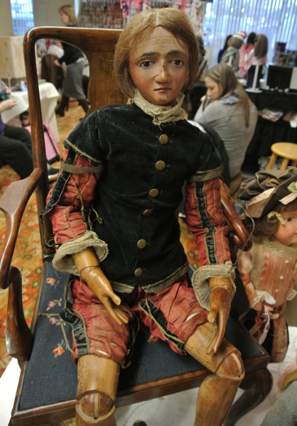 This rare example of an antique wooden body was on display at a Crossroads show.