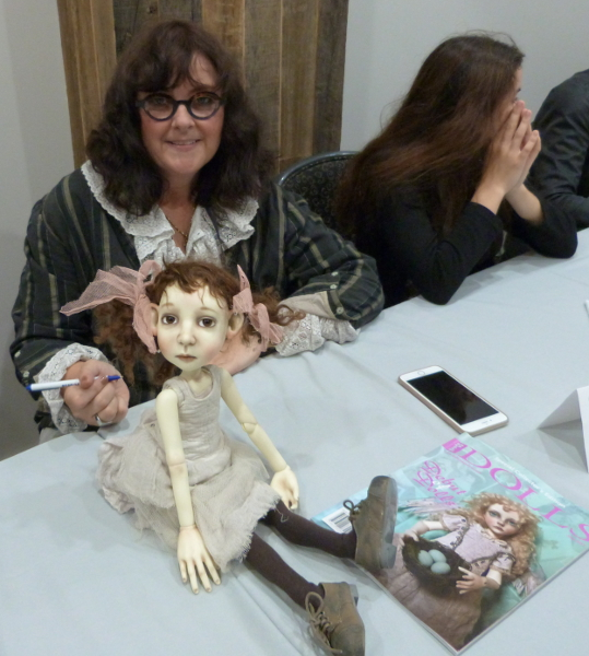 BJD artist Connie Lowe at the Debut of Dolls signing event during the 2017 International Doll & Teddy Show.