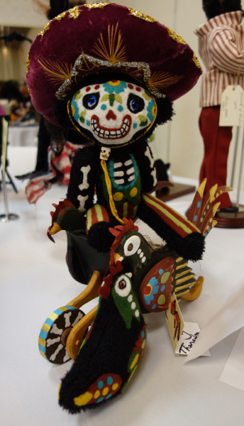 The Quinlans are proud to introduce collectors to artists and techniques as yet undiscovered by the Internet world. Pictured here is Amy Thornton's Chick N. Bones doll from the Figures from the Day of the Dead theme table.