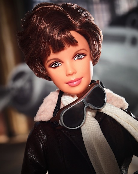 Close-up of Amelia Earhart Inspiring Women doll