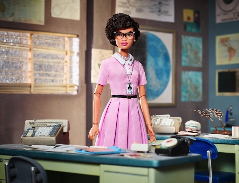 Close up of Katherine Johnson doll