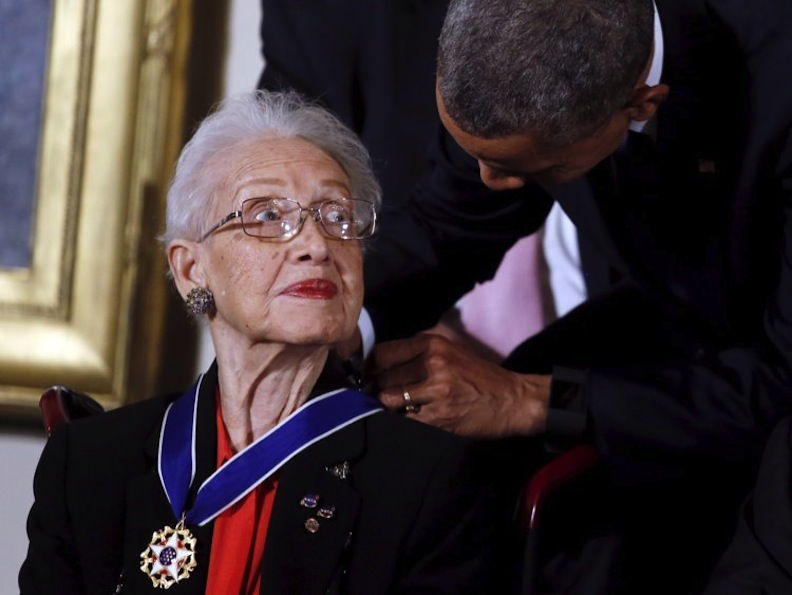 Katherine Johnson and President Obama