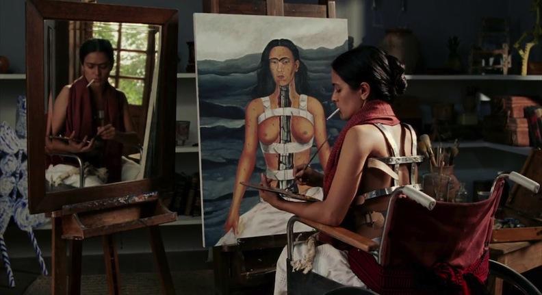Salma Hayek as Frida in wheelchair