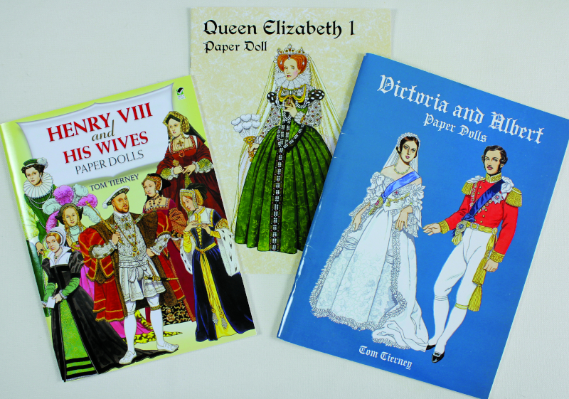 Tom Tierney's prolific output includes lavish portrayals of many British royals. Dover published these Tierney paper-doll collections from 1985 to 2011. He died in 2014 at age 85.