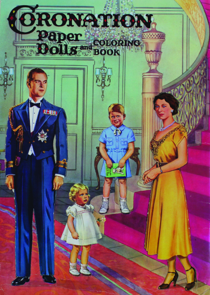 The back cover contains punch-out dolls of Queen Elizabeth II and Prince Philip.