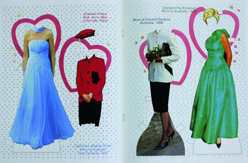 Johnson used 1980s news photos to modify Diana's costumes, a unique application among paper-doll books.