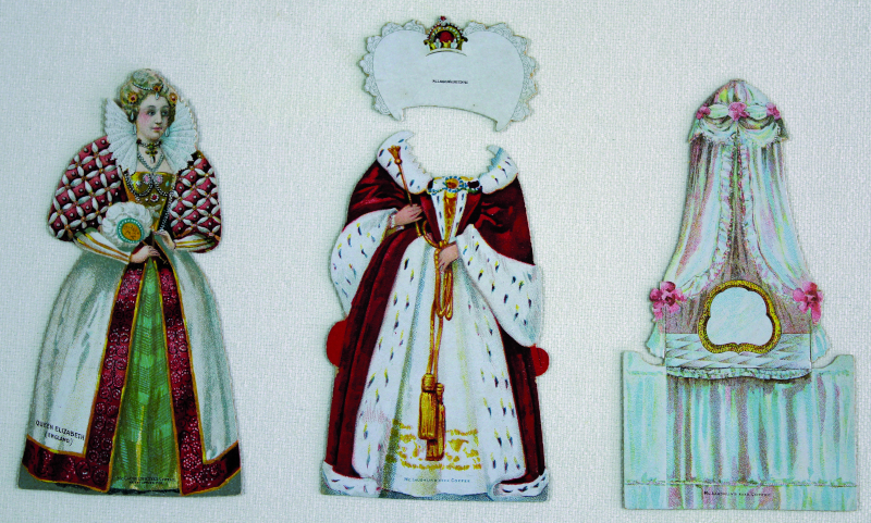 "McLaughlin Coffee Company advertised its famous Manor House brew with these dolls of Queen Elizabeth I. This rare paper doll set, circa 1895, is complete. It illustrates an elaborately costumed ""Good Queen Bess,"" her court robe and crown, and fancy dresser with mirror."