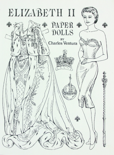 "The late Hoosier artist Charles Ventura self-published many beautiful paper-doll books, all of which are hard to find today. Known for his meticulous pen-and-ink drawings, Ventura's detailed fashions are amazing. A stellar example is ""Elizabeth II"" from 1988."