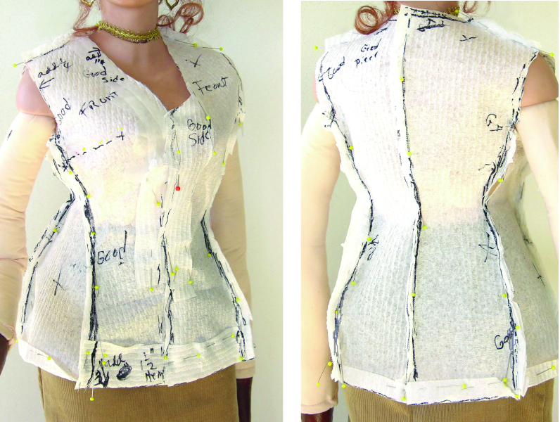 Paper-towel jacket, front and back views.