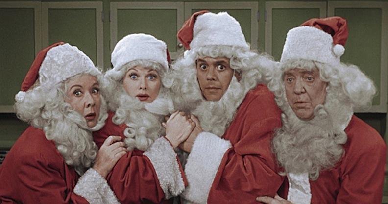 I Love Lucy cast as Santas
