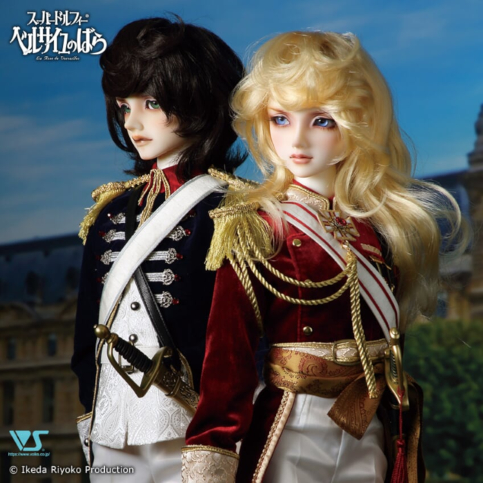 "André Grandier (left) and Lady Oscar, from the classic manga series ""The Rose of Versailles,"" are available as resin Super Dollfie BJDs from Volks for a limited time."