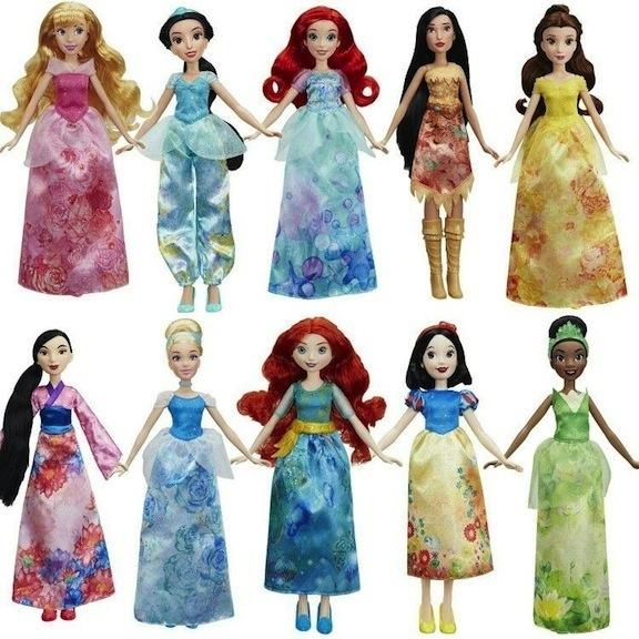 Lineup of Hasbro Royal Shimmer dolls