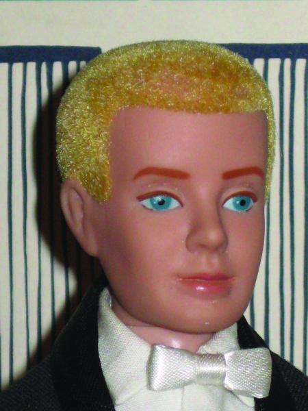 The flocked hair used on the first Ken dolls came off if the doll got wet, and so was quickly discontinued.